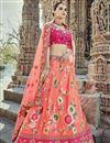 image of Eid Special Pink Handwork Embroidered Art Silk Fancy Lehenga Choli