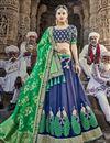 image of Eid Special Navy Blue Handwork Embroidered Wedding Wear Lehenga