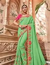 image of Art silk Sea Green Wedding Wear Saree With Embroidery Work And Gorgeous Blouse