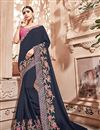 image of Navy Blue Art silk Embroidered Designer Saree With Designer Blouse