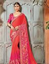 image of Emboirdery Work On Art silk Salmon Party Wear Saree With Amazing Blouse