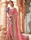 image of Art silk Pink Function Wear Saree With Embroidery Work And Astounding Blouse