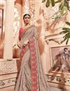 image of Cream Art silk Festive Saree With Embroidery Work And Gorgeous Blouse