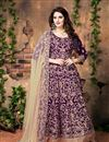 image of Purple Color Dazzling Banglori Silk Anarkali Suit With Embroidery Work