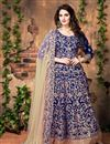 image of Glamorous Blue Color Festive Wear Anarkali Salwar Kameez In Banglori Silk Fabric