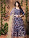 image of Glamorous Blue Color Festive Wear Anarkali Salwar Kameez In Banglori Silk Fabric