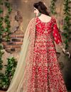 photo of Red Color Designer Embroidered Anarkali Suit In Banglori Silk Fabric