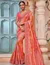 image of Banarasi Silk Party Wear Saree In Salmon With Border Work And Blouse