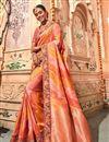 image of Festive Special Salmon Banarasi Silk Festive Wear Saree With Border Work And Designer Blouse