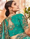 photo of Wedding Special Designer Saree In Cyan Banarasi Silk With Border Work And Party Wear Blouse