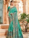 image of Festive Special Designer Saree In Cyan Banarasi Silk With Border Work And Party Wear Blouse