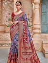 image of Banarasi Silk Blue Border Work Party Wear Saree With Designer Blouse