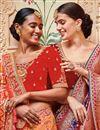 photo of Orange Border Work Sangeet Wear Banarasi Silk Saree With Designer Blouse