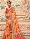 image of Orange Border Work Sangeet Wear Banarasi Silk Saree With Designer Blouse