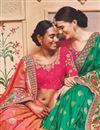 photo of Banarasi Silk Salmon Sangeet Wear Saree With Border Work And Blouse