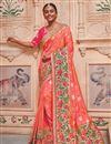 image of Banarasi Silk Salmon Sangeet Wear Saree With Border Work And Blouse