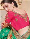 photo of Green Designer Saree With Border Work On Banarasi Silk Fabric