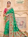 image of Green Designer Saree With Border Work On Banarasi Silk Fabric