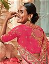 photo of Border Work On Pink Designer Saree In Georgette Fabric With Designer Blouse