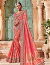 image of Border Work On Pink Designer Saree In Georgette Fabric With Designer Blouse