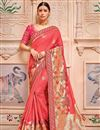 image of Salmon Border Work Sangeet Wear Banarasi Silk Saree With Designer Blouse