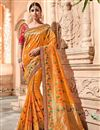 image of Mustard Georgette Saree With Border Work And Beautiful Blouse