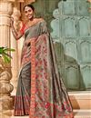 image of Saree In Grey Georgette Fabric With Border Work And Attractive Blouse