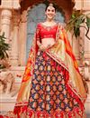 image of Eid Special Best Selling Wedding Wear Art Silk Fabric Designer Embroidered Lehenga In Navy Blue