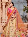 image of Best Selling Wedding Function Wear Art Silk Fabric Cream Fancy Lehenga Choli