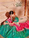 photo of Wedding Wear Designer Embroidered Lehenga In Art Silk Fabric Teal