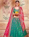 image of Wedding Wear Designer Embroidered Lehenga In Art Silk Fabric Teal