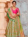 image of Best Selling Reception Wear Designer Lehenga Choli In Art Silk Fabric Beige