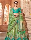 image of Wedding Wear Designer Embroidered Lehenga In Art Silk Fabric Sea Green