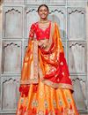 image of Wedding Wear Orange Designer Embroidered Lehenga In Art Silk Fabric