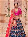 image of Sangeet Wear Navy Blue Art Silk Fabric Designer Embellished Lehenga