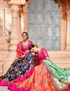 photo of Salmon Color Designer Wedding Wear Art Silk Fabric Embroidered Lehenga