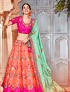 image of Best Selling Salmon Color Designer Wedding Wear Art Silk Fabric Embroidered Lehenga