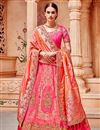 image of Best Selling Sangeet Wear Pink Art Silk Fabric Designer Embellished Lehenga
