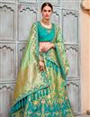 image of Best Selling Wedding Wear Designer Embroidered Lehenga In Sea Green Art Silk Fabric