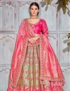 image of Designer Wedding Wear Art Silk Fabric Embroidered Lehenga