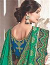 photo of Embroidery Work On Teal Fancy Fabric Party Wear Saree With Designer Blouse