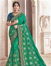 image of Embroidery Work On Teal Fancy Fabric Party Wear Saree With Designer Blouse