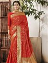 image of Red Art Silk Fancy Weaving Work Traditional Function Wear Saree