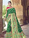image of Green Silk Fabric Traditional Wear Designer Weaving Work Saree With Heavy Blouse