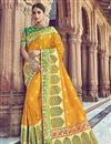 image of Traditional Wear Silk Fabric Designer Weaving Work Saree With Heavy Blouse In Yellow
