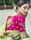 photo of Silk Fabric Traditional Wear Designer Weaving Work Sea Green Saree With Heavy Blouse