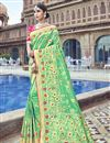 image of Silk Fabric Traditional Wear Designer Weaving Work Sea Green Saree With Heavy Blouse