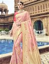 image of Silk Fabric Traditional Wear Designer Weaving Work Pink Saree With Heavy Blouse