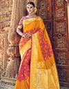 image of Traditional Wear Silk Fabric Mustard Designer Weaving Work Saree With Heavy Blouse