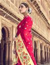 photo of Silk Fabric Traditional Wear Red Designer Weaving Work Saree With Heavy Blouse